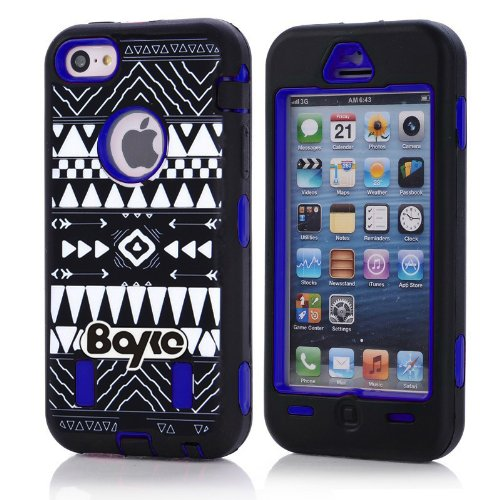 Apple Iphone 5c Fashion Camo Zebra Combo Print & Aztec Tribal Print Hybrid Armorbox Defender Case Protection Impact Bumper Dual Layer Heavy Duty Case Pc&rubber Silicone Material with Hard Holster (Not Fit Iphone 5 & 5s / Bayke Brand / Screen Protector Not Include) (Aztec Tribal Print / Bayke Brand) (Blue) at Amazon.com
