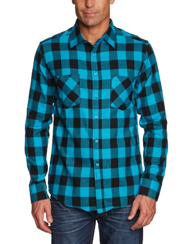 Urban Classics - Checked Flanell Shirt, Camicia Uomo, Multicolore (Blk/Tur), Large (Taglia Produttore: Large)