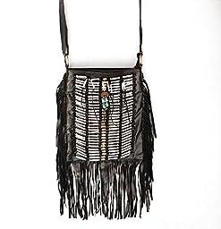 Black Boho Bag| Real Leather | Fringe Purse | Bohemian Bags | Hobo Tote Handbag