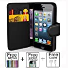 OneTwoThree(TM)Black PU Leather Flip Bank Card Wallet Case Cover Pouch For iPhone 4 4S+USB Data Cable+ Screen Protector+ Stylus Pen