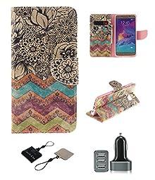 Samsung Galaxy S6 Edge Plus Wallet Case , Castle Cas [Wave Flower] Duplex Design Flip Card Slot Slim Fit Magnetic Premium Polyurethane Leather TPU Cover With 3 - Ports Rapid USB Car Charger - Color