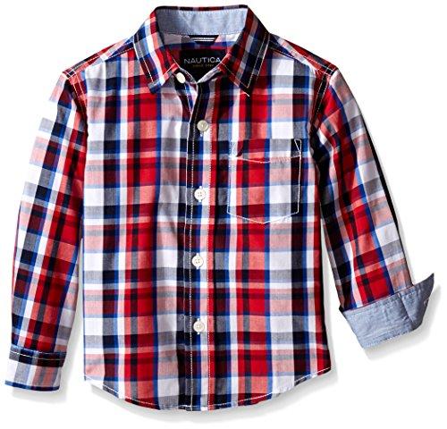 Nautica Boys' Long Sleeve Multi Plaid Shirt with Chambray Trim
