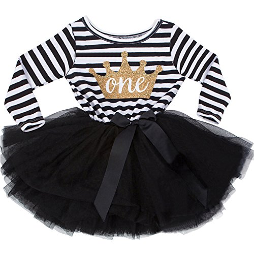 NNJXD Girl Shinny Stripe Baby Girl Long Sleeve Printed Tutu Dress Gold&Light Black 10-12 Months