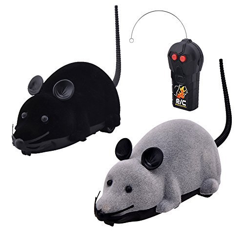 Eugreat  2 Pcs Funny Wireless Remote Control  Mouse Toy Black  and Gray for Cats Dogs Pets Kids (Remote Control Mouse compare prices)