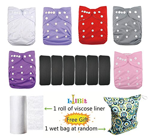 LilBit 6 pcs Bamboo Charcoal Inserts 5 Layers + 6 Solid Adjustable Baby Cloth Diapers