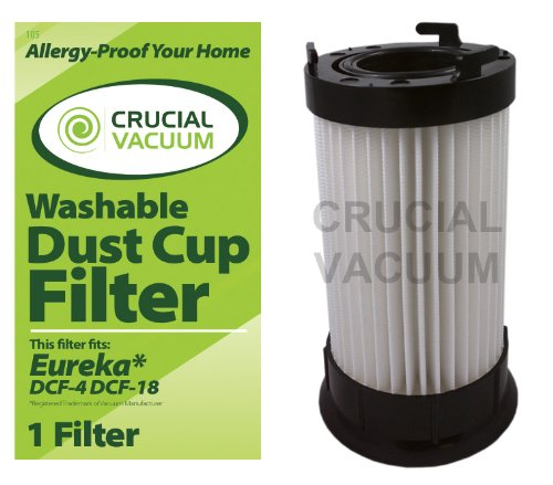 Eureka DCF-4 DCF-18 Washable & Reusable Long-Life Vacuum Filter; Replaces Eureka GE DCF1 DCF4 DCF18 Part # 62132 63073 61770 3690 18505 28608-1 28608B-1