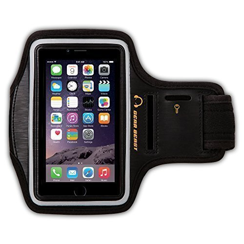 Gear Beast della palestra di sport Esecuzione bracciale con portachiavi e riflettente fascia di sicurezza per iPhone 6S Inoltre, 6 Plus, nota 5, S7 Bordo, S6 Bordo Inoltre, Motorola Moto X Pure, Droid Maxx 2, Droid 2 Turbo, HTC One M9