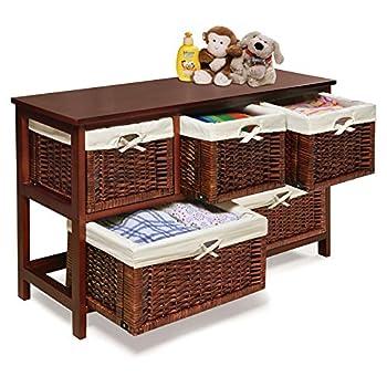 Badger Basket - Wooden Storage Cabinet with Wicker Baskets, Cherry
