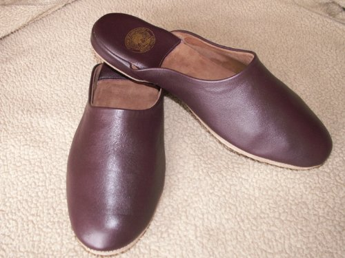 Men's Leather Mule Slipper (UK SIZE 8, Wine)