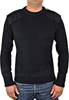 Mens Security Jumper Army Military Knitted Crew Neck Jumpers With Shoulder Eqaulettes And Elbow Patches