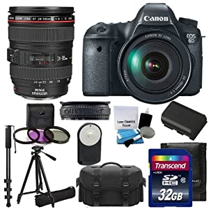 Canon EOS 6D 20.2 MP CMOS Digital SLR Camera with 3.0-Inch LCD and :	Canon Zoom Wide Angle-Telephoto EF24-105mm IS f/4 L USM Lens Kit UV Filter Kit With Extra Battery +Tripod + Monopod with 32GB Complete Deluxe Accessory Bundle And Much More!