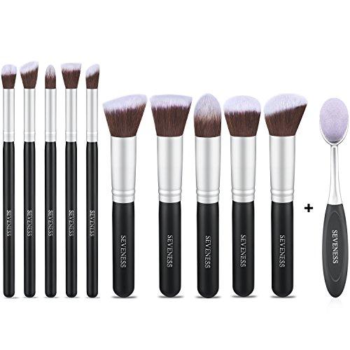 Makeup Brushes Sets, 11pcs Synthetic Kabuki Makeup Foundation Eyeliner Blush Contour Brushes for Powder Cream Concealer Brush Kit-Professional makeup brush set-SEVENESS (Best Concealer Brush compare prices)