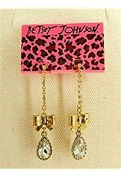 Betsey Johnson Long Drop Crystal Stud Earrings