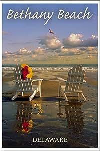 Bethany Beach Delaware Adirondack Chairs On Beach 12x18 Art Print Wall Decor