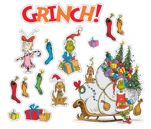 "Eureka Dr. Seuss'S ""The Grinch"" Bulletin Board Set, 4 Panels 17 X 24"" Each"