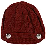 Ladies Winter Bling Bling Crystal Cable Knit Beanie Skull Snow Ski Hat Cap Wine