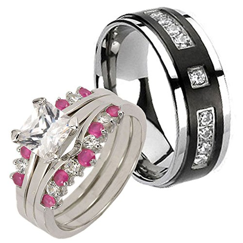 4Pcs Sterling Silver 925 Princess Synthetic Ruby & Black Titanium Cz Engagement Band Ring Set Sz 5, 12