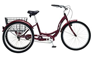 Schwinn Meridian Adult 26-Inch 3-Wheel Bike (Black Cherry)