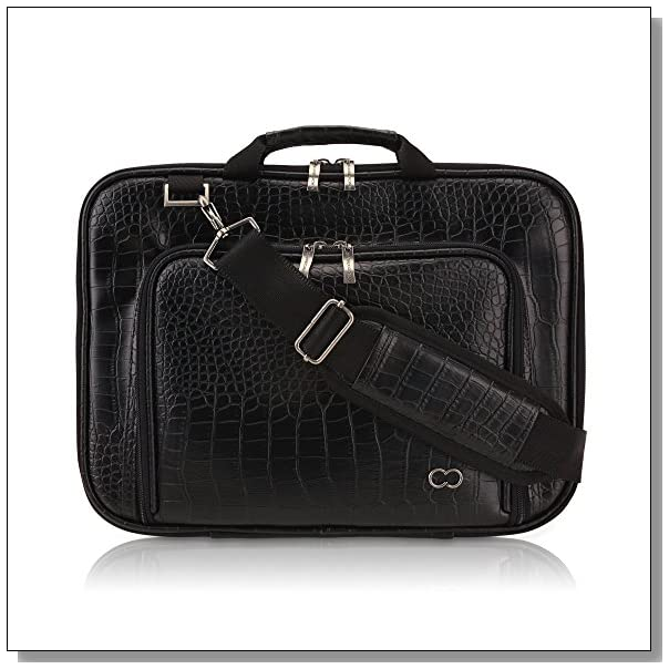 11 Inch MacBook Air CaseCrown Alligator Messenger Laptop Case with Memory Foam (Black)