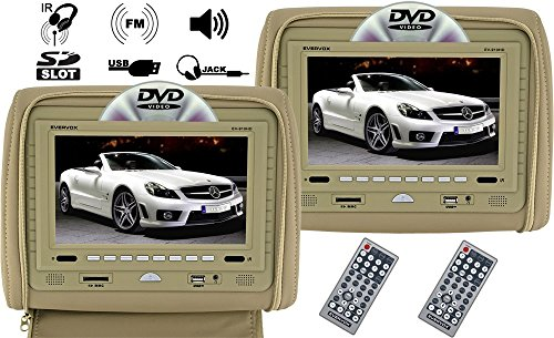 "Evervox Ev-910Hd Beige 9"" Dual Headrest Monitor With Dvd Player, Usb/Sd And Built-In Ir/Fm Transmitter"