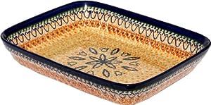 Polish Pottery Baking Dish 8 Inch X 10 Inch From Zaklady Ceramiczne Boleslawiec 370-117 Art Unikat Signature Pattern