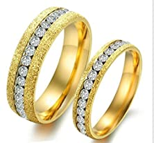 buy Anazoz Stainless Steel Dull Polish Rings Single Cz Around Ring Round Shape Width 6Mm Us Size 8 Male Gold