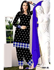 Fabfiza Black Cotton Embroidered Semi-stitched Straight Suit - B019H5WPQ0