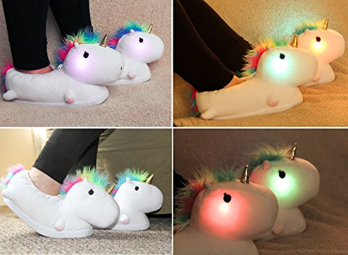 Light-Up-Unicorn-Slippers-for-Adults-Twinkle-Tootsies-Color-Changing-LED-Lights-and-Vibrant-Rainbow-Mane-For-Grownup-Ladies-with-Magic-in-Their-Hearts-Sparkle-on-Their-Soles