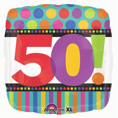 Party Destination - Dots and Stripes Birthday 50 Foil Balloon