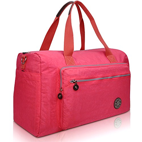 zysun-womens-nylon-traveling-bag-large-capacity-tote-casual-handbagnb-608bright-pink