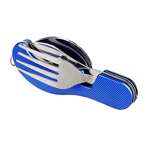 Outdoor Travel Kit Stainless Steel Fork Spoon Knife 3 in 1 Light Weight Flatware Multi Tool (Blue)