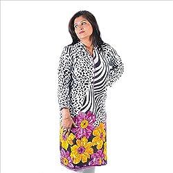 Glimmerra Women's Ryon Kurti (Kurti561Pxl_Purple Flower Border_42)