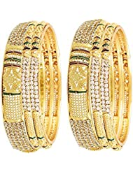 Zeneme Antique Gold Plated Brass Jewellery Bangles For Women