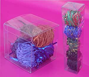 50 PCS 4x4x4 Clear Plastic PVC Boxes, Tuck top and bottom