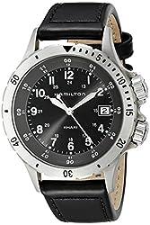 Hamilton Men's H74451833 Khaki Field Analog Display Swiss Quartz Black Watch