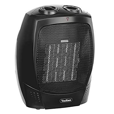 VonHaus 1500W Personal Ceramic Fan Heater with 2 Heat Settings, Cool Air Function & Adjustable Thermostat - Small, Portable PTC Space Heater (7.3 x 6.5 x 8.7 inches)