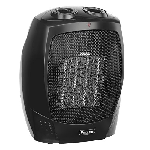 VonHaus 1500W Personal Ceramic Fan Heater with 2 Heat Settings, Cool Air Function & Adjustable Thermostat - Small, Portable PTC Space Heater (7.3 x 6.5 x 8.7 inches) (Small Portable Heater compare prices)