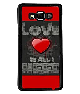 PRINTVISA Love is needed Premium Metallic Insert Back Case Cover for Samsung Galaxy A7 - A700F - D5778