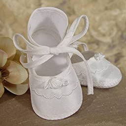 Baby Girls Champagne Bow Silk Dupioni Embroidered Christening Shoes 0