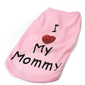 Pet Dog Cute Clothes Vest T-Shirt I Love Mommy Paillette Heart - Pink Size S