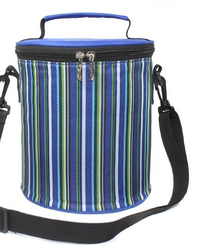 Noarks ® Colorful Stripe Insulated Lunch Bag Round Cooler Bag For Stainless Steel Lunch Jar (Blue Green Stripe) front-20589