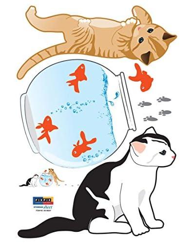 Ambiance Live Vinilo Decorativo Cat and fishes