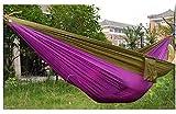 fino creare フィノクレアーレ 2人用 軽量パラシュート ハンモック 幅広 140cm タイプ カラビナ + ロープ + 収納袋 付き (紫+黄土)