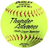 "Dudley Thunder Advance 12"" Slow Pitch Softball - Composite Cover - Pack Of 12, 12-Inch/Red Stitch"