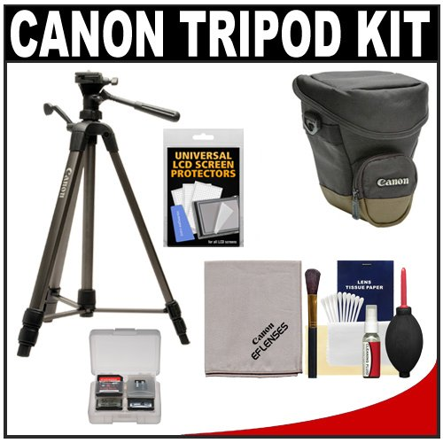 "Canon 62"" Deluxe Photo/Video 300 Tripod With 3-Way Panhead & Canon Zoom Pack 1000 Holster Case + Accessory Kit For Eos 7D, 5D, 60D, 50D, Rebel T3, T3I, T2I, T1I, Xs Digital Slr Cameras, Lenses & Binoculars"