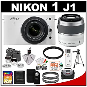 Nikon 1 J1 10.1 MP Digital Camera Body with 10-30mm & 30-110mm VR Lens (White) with 32GB Card + Case + (2) UV Filters + 2x Telephoto & .45x Wide-Angle Lens Set + Tripod + Remote + Accessory Kit