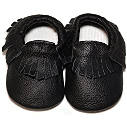 Baby Conda Handmade Black Baby Moccasins * 100% Genuine Leather * Soft Sole Slip on Baby Shoes for Boys and Girls * 100% Money Back Guarantee Size 0 - 6 Months