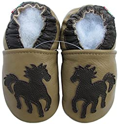 Carozoo baby boy soft sole leather infant toddler kids shoes Horse Tan 5-6y