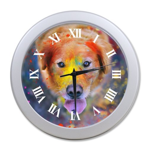 Generic Custom Round Silver Gainsboro Elegant Wall Clock Design - Colorful Silly Dog Face Funny Animal Pattern