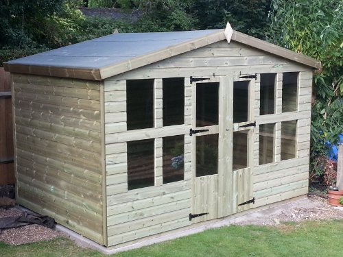 14x8 Heavy Duty Everlast Tanalised Apex Garden 'Ascot' Summerhouse, Shed, 19mm Cladding, Free Delivery And Installation Service!